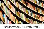books in tall bookshelf  in... | Shutterstock . vector #149878988