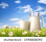 glass of milk and jug in grass | Shutterstock . vector #1498808090