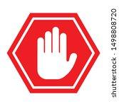 hand stop icon vector sign  ... | Shutterstock .eps vector #1498808720