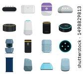 smart speaker icons set. flat... | Shutterstock .eps vector #1498829813