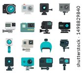 action camera icons set. flat... | Shutterstock .eps vector #1498829840