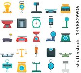 Weigh Scales Icons Set. Flat...