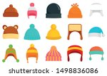 Winter headwear icon set. Flat set of winter headwear vector icons for web design