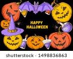 halloween design template. hand ... | Shutterstock .eps vector #1498836863