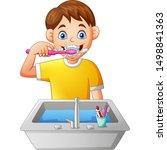 Cartoon Boy Brushing Teeth....