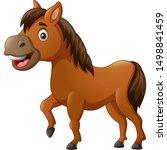 funny horse cartoon. vector... | Shutterstock .eps vector #1498841459