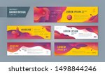 Stock vector abstract banner design web template set horizontal header web banner modern cover header 1498844246