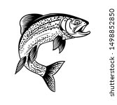 Trout fish jump out vintage illustration with handrawing style black in white background