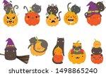 happy halloween cute cat... | Shutterstock .eps vector #1498865240