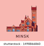 minsk. belarus. catholic church ... | Shutterstock .eps vector #1498866860