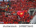 Small photo of BKK,THA-SEP.5: Vietnamese fans in action during FIFA World Cup 2022 Preliminary Round2 Thailand and Vietnam at Thammasat Stadium on Seotember 5, 2019 in Bangkok, Thailand.