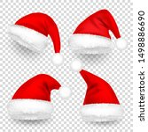 christmas santa claus hats with ...   Shutterstock .eps vector #1498886690
