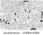 hand drawn party doodle happy...   Shutterstock .eps vector #1498914089