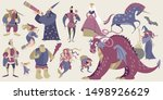 set of fairytale characters in... | Shutterstock .eps vector #1498926629