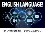 Small photo of Conceptual hand writing showing English Language. Business photo text third spoken native lang in world after Chinese and Spanish Woman wear work suit presenting presentation smart device.
