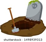 stone tombstone stands on... | Shutterstock .eps vector #1498939313