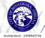 3D Seal of Mishawaka (Indiana), USA. 3D Illustration.