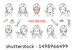 face skin care icons. makeup... | Shutterstock .eps vector #1498966499