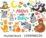 set of isolated animals mother... | Shutterstock .eps vector #1498988150
