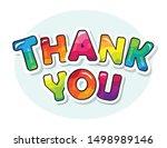 thank you inscription. cartoon... | Shutterstock .eps vector #1498989146
