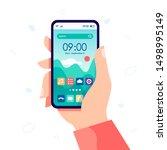 hand holding modern cell phone... | Shutterstock .eps vector #1498995149