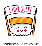little kawaii sushi with... | Shutterstock .eps vector #1498997339