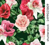 seamless floral pattern with... | Shutterstock . vector #1499025809