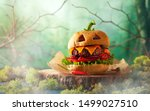 Halloween Party Burger In Shape ...