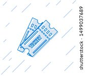 blue line ticket icon isolated... | Shutterstock .eps vector #1499037689