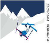 Falling Down Cartoon Skier Man. ...