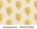 gold glitter balloons seamless... | Shutterstock .eps vector #1499124560