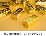 Gold Bars Or Bullion On Yellow...