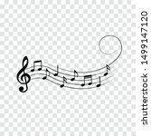music notes with swirl  vector... | Shutterstock .eps vector #1499147120