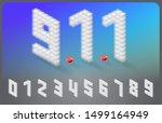 isometric alphabet font cube... | Shutterstock .eps vector #1499164949