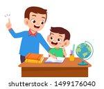 parent help teach kid... | Shutterstock .eps vector #1499176040