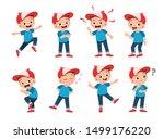 happy kids wear hat expression...   Shutterstock .eps vector #1499176220