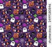halloween sweet candy seamless... | Shutterstock .eps vector #1499180846