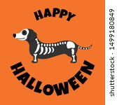 dachshund in halloween costume  ... | Shutterstock .eps vector #1499180849