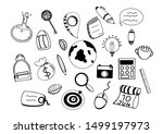 travel doodle icons. hand made... | Shutterstock .eps vector #1499197973