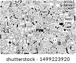 hand drawn party doodle happy... | Shutterstock .eps vector #1499223920
