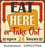vintage eat here metal sign... | Shutterstock .eps vector #1499227946