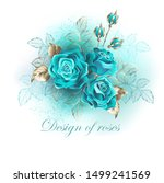 bouquet of three turquoise... | Shutterstock .eps vector #1499241569