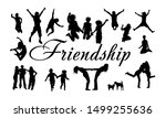silhouettes of jumping friends. ... | Shutterstock .eps vector #1499255636