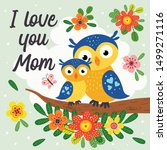 Poster With Cute Owl Mother An...