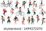 diverse multiracial man and... | Shutterstock .eps vector #1499272370