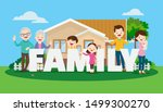 big happy family on the... | Shutterstock .eps vector #1499300270