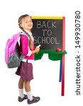 a schoolgirl standing next to... | Shutterstock . vector #149930780