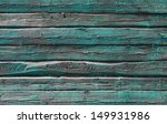 Old Rural Green Wooden Wall...
