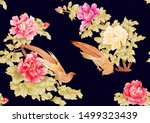 Peony Tree Branch With Flowers...