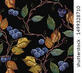 blackberry and autumn leaves... | Shutterstock .eps vector #1499328710